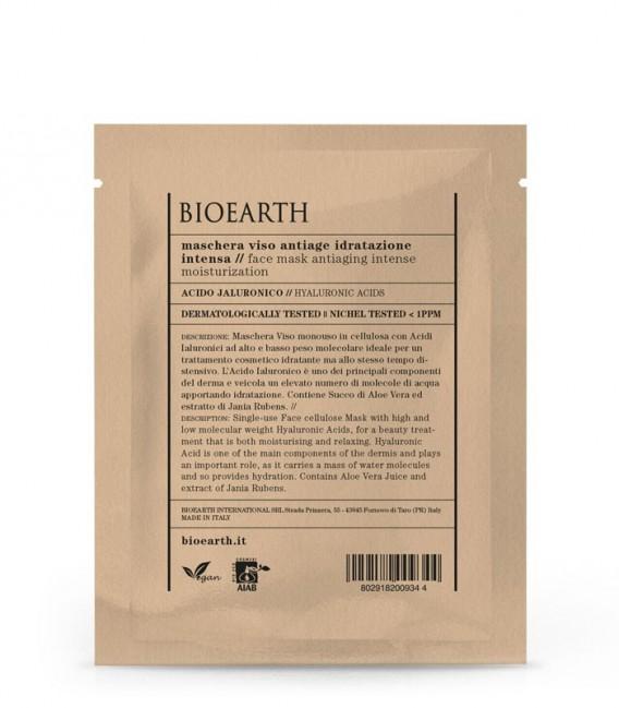 Maschera Viso Anti-Age Idratazione Intensa all'Acido Ialuronico. - 1 Monouso 15 ml - Bioearth