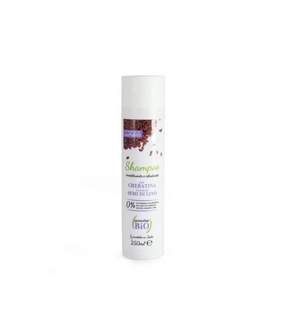 Shampoo Ricostituente e Idratante con Cheratina e Olio di Semi di Lino - Vari Formati - Parentesi Bio