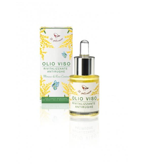 Olio Viso Rivitalizzante Antirughe con Rosa Canina e Mimosa 15ml - Il Pettirosso Cosmetici